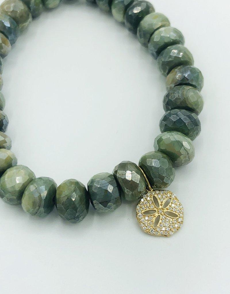 SYDNEY EVAN Mystic Green Moonstone & Sand Dollar Bracelet