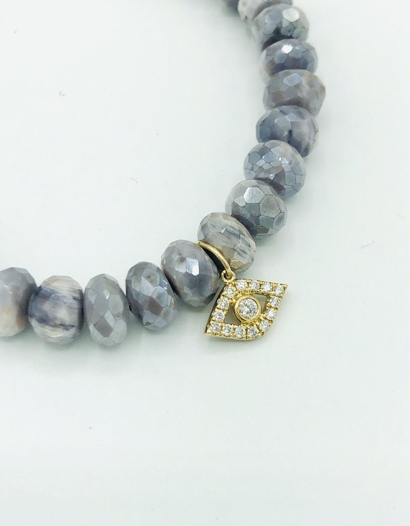 SYDNEY EVAN AB Lavender Moonstone & Evil Eye Bracelet