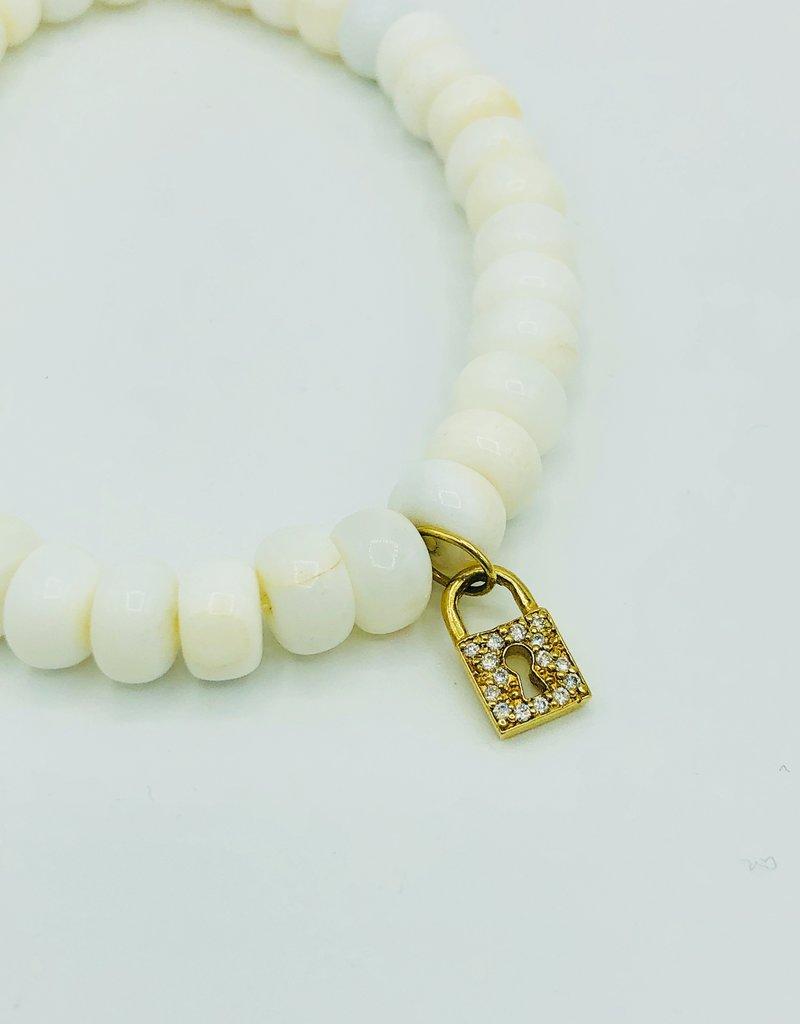 SYDNEY EVAN White Onyx & Key Hole Lock Bracelet