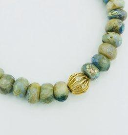 SYDNEY EVAN AB Aquamarine & Wire Ball Bracelet