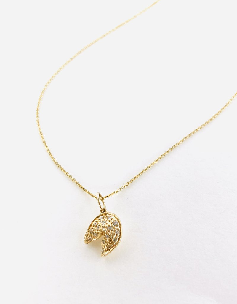 SYDNEY EVAN Diamond Fortune Cookie Necklace