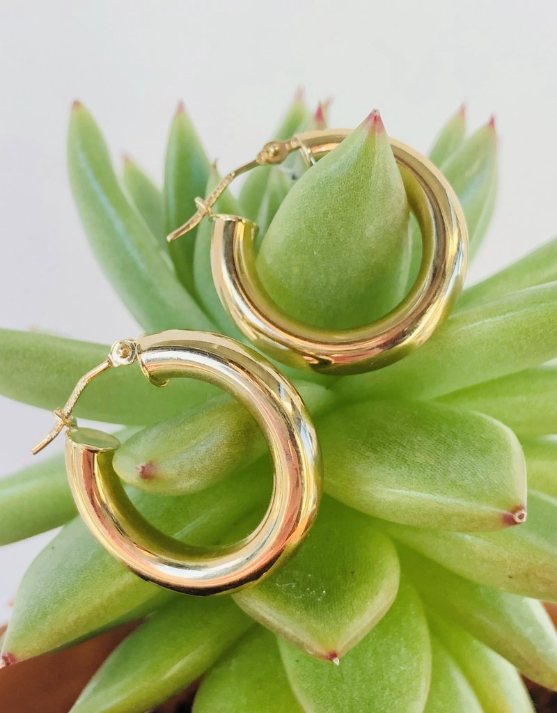 302 COLLECTION 14KT 20mm Chunky Tube Hoop Earrings