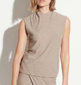 VINCE Draped Neck Shell - Heather Dove Oat