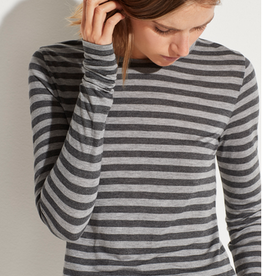 VINCE Heather Stripe Long Sleeve Crew - Grey Tonal