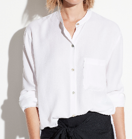VINCE Relaxed Band Collar Blouse - White