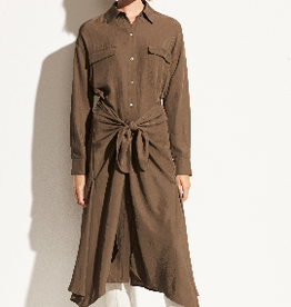 VINCE Tie Front Shirt Dress - Olive Oil