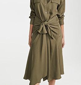 VINCE Tie Front Shirt Dress - Olive Oil