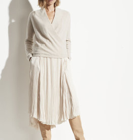 VINCE Wrap Front Pullover - Heather Dove Oat