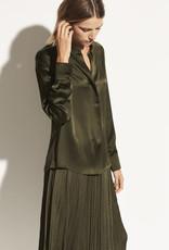 VINCE Satin Long Sleeve Blouse - Olive