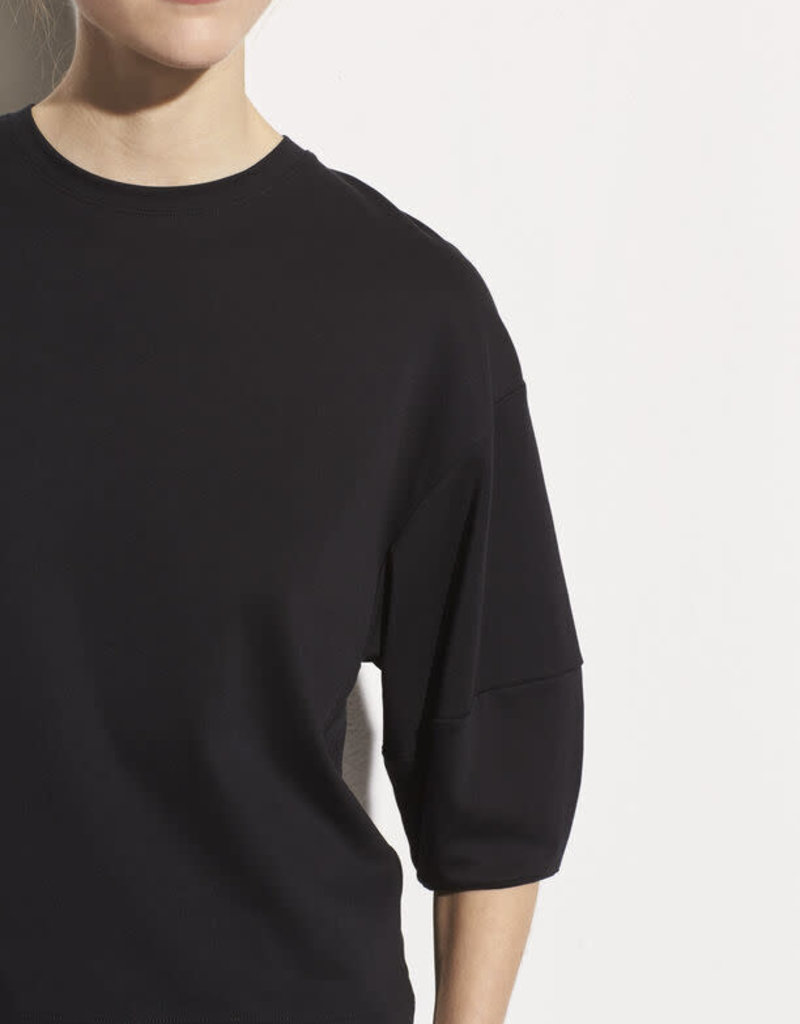 VINCE 3/4 Puff Sleeve Pima Cotton Crew - Black