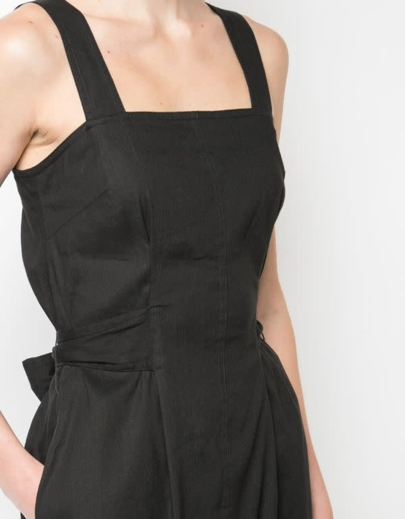 VINCE Belted Wide Strap Dress - Black