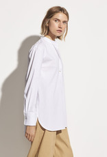 VINCE Classic Stripe Band Collar Shirt - White