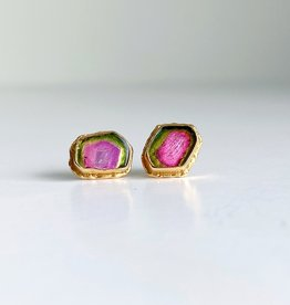 JAMIE JOSEPH Watermelon Tourmaline Post Earrings