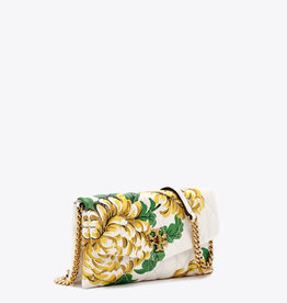 TORY BURCH Kira Chevron Quilted Floral Chain Wallet - Yellow