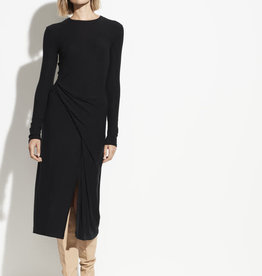 VINCE Long Sleeve Draped Dress - Black