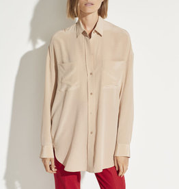 VINCE Oversized Button Front Blouse - Peachy Nude