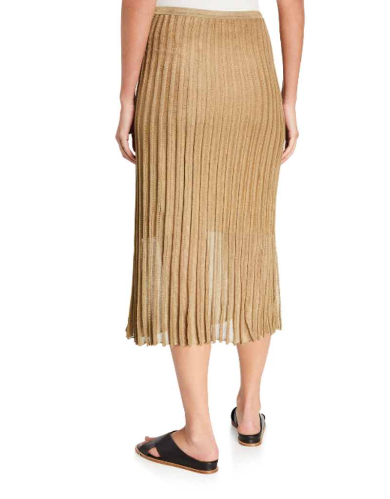 VINCE Pleated Metallic Midi Skirt - Bronze