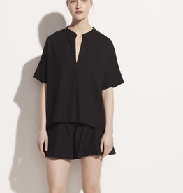 VINCE Short Sleeve Linen Popover - Black