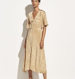 VINCE Textured V-Neck Dress - Sun Khaki