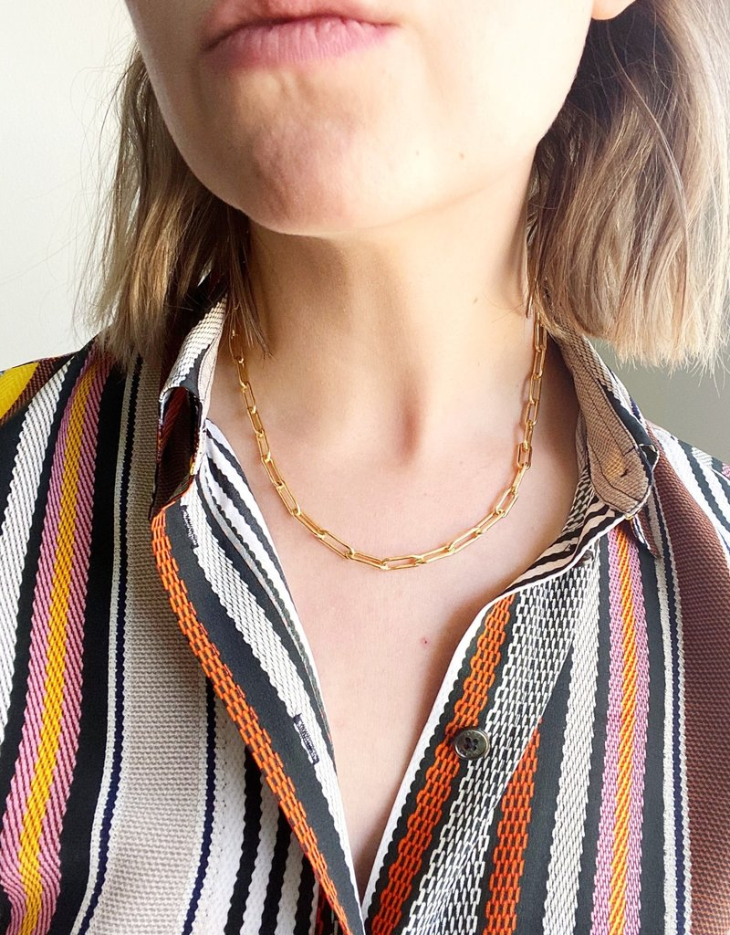 """SENNOD 18"""" Paperclip Chain Necklace"""