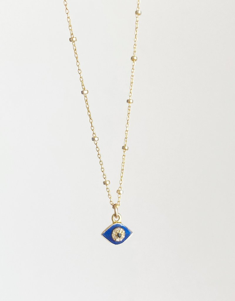 "SENNOD 16"" Enamel and Diamond Evil Eye Necklace"