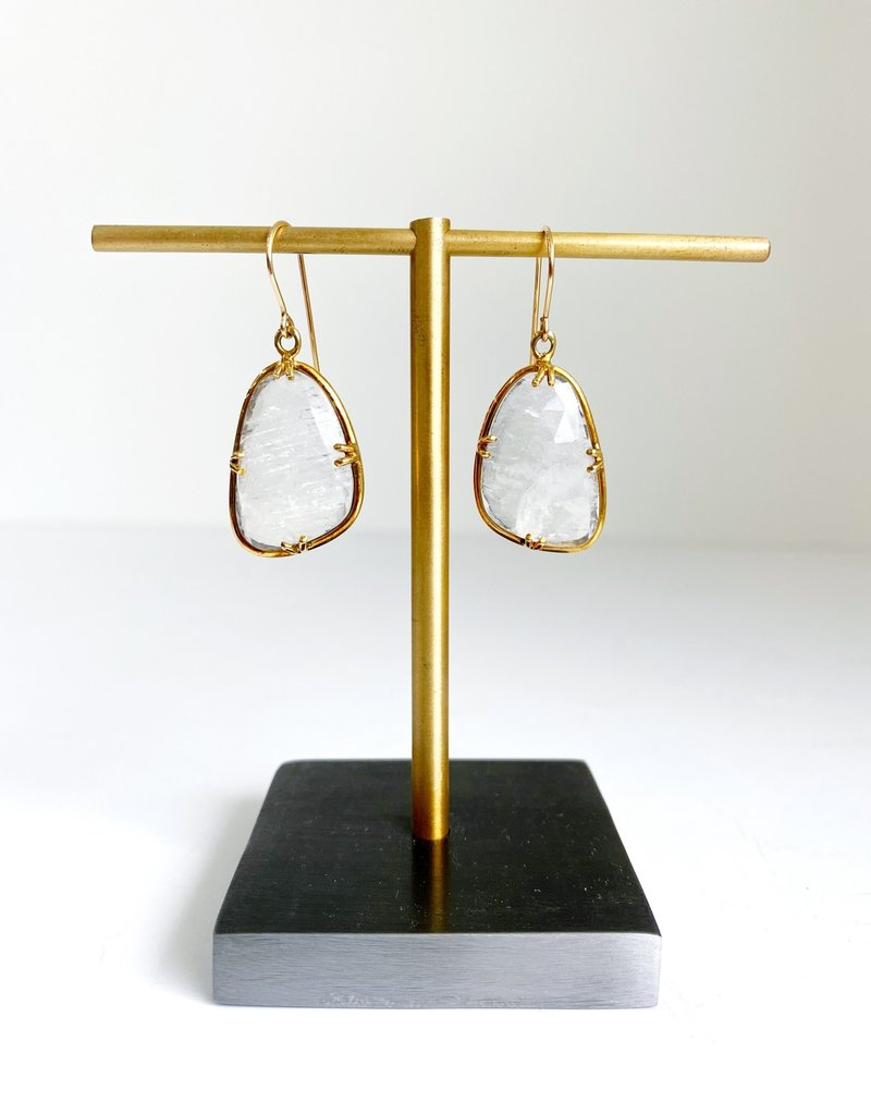 SENNOD Asymmetrical Moonstone Earrings