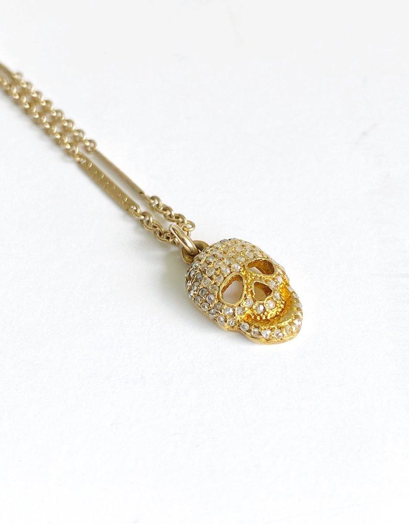 """SENNOD 18"""" Diamond Skull Necklace"""