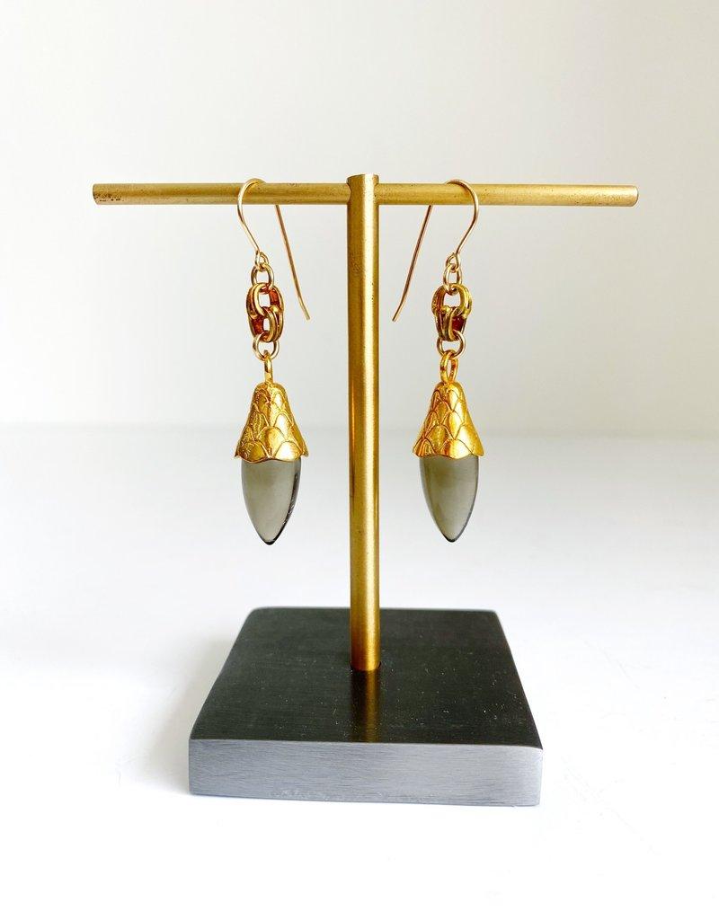 SENNOD Smoky Quartz w/ Cone Earrings
