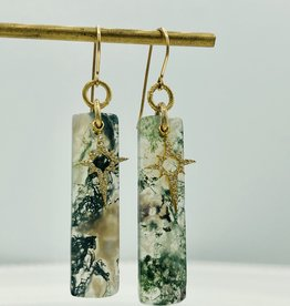 SENNOD Moss Agate with Diamond Star Earrings