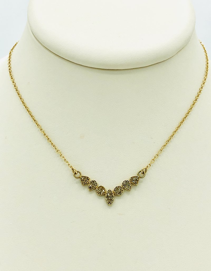 "SENNOD 16 "" Gold Diamond Bar Necklace"