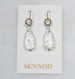 SENNOD Crystal Quartz with Silver Leaf Earring