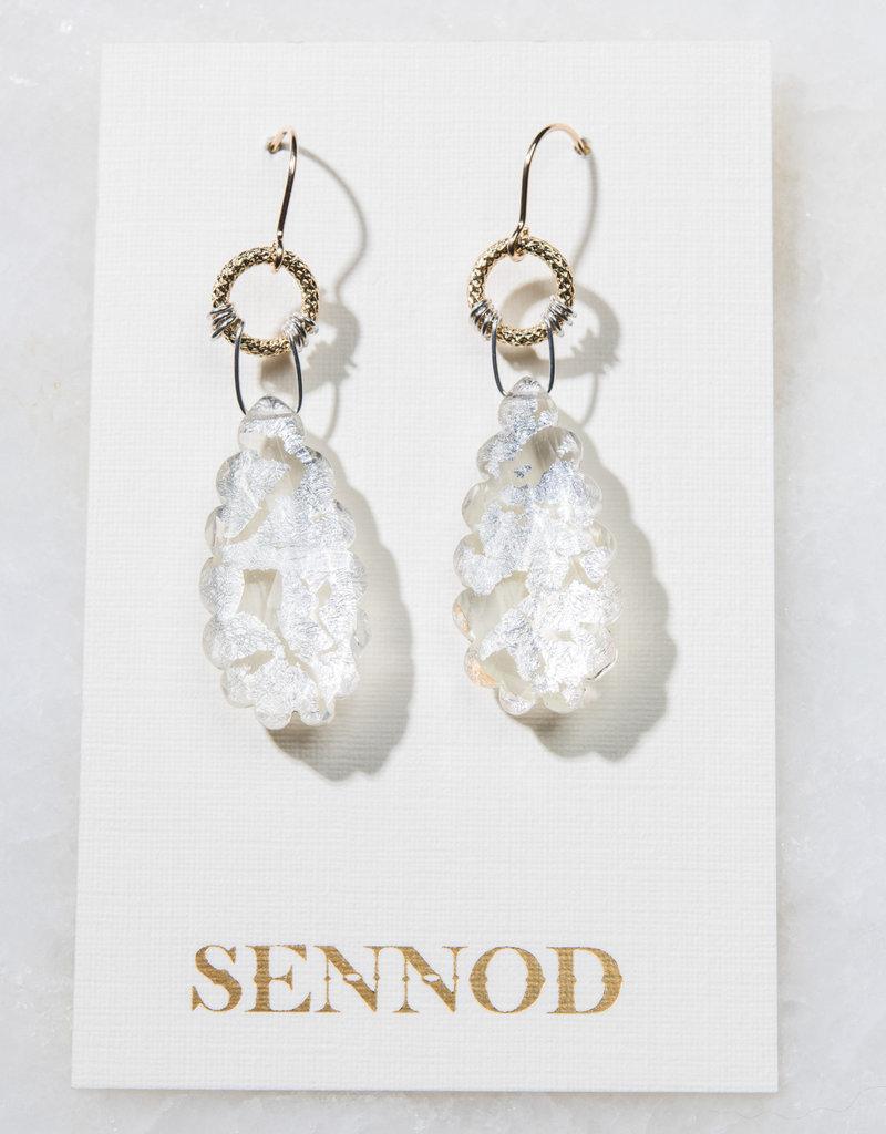 SENNOD TRUNK SHOW Crystal Quartz with Silver Leaf Earring