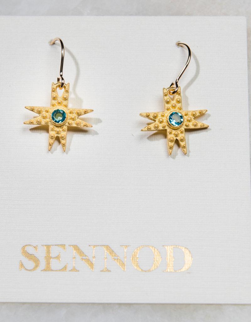 SENNOD Pebble Star Earring - Blue Topaz