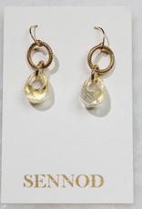SENNOD TRUNK SHOW Crystal Quartz with 22k Gold Leaf Earring