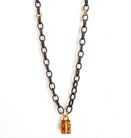 SENNOD Gunmetal and Gold Vignette Chain - 30""