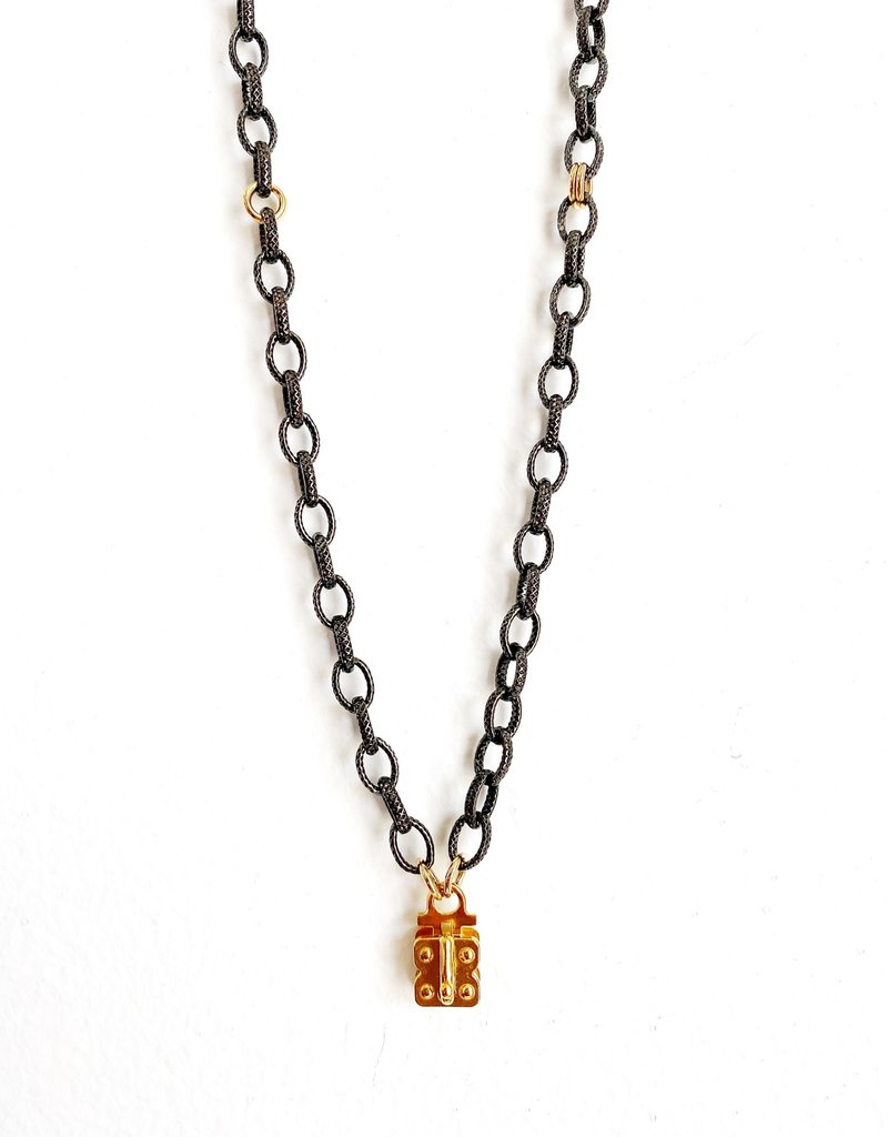 "SENNOD Gunmetal and Gold Vignette Chain - 30"""