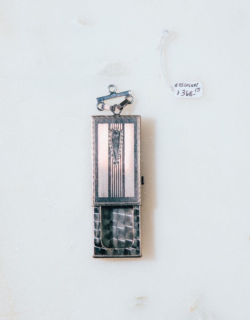 SENNOD Rectangle Vintage Locket on Bar Vignette - Sterling