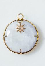 SENNOD Moonstone Ring with Diamond Star Vignette