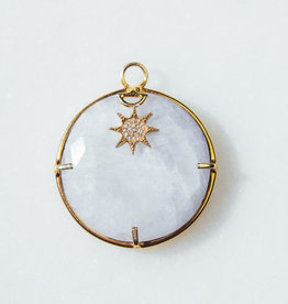 SENNOD Moonstone Ring with Diamond Star Vignette