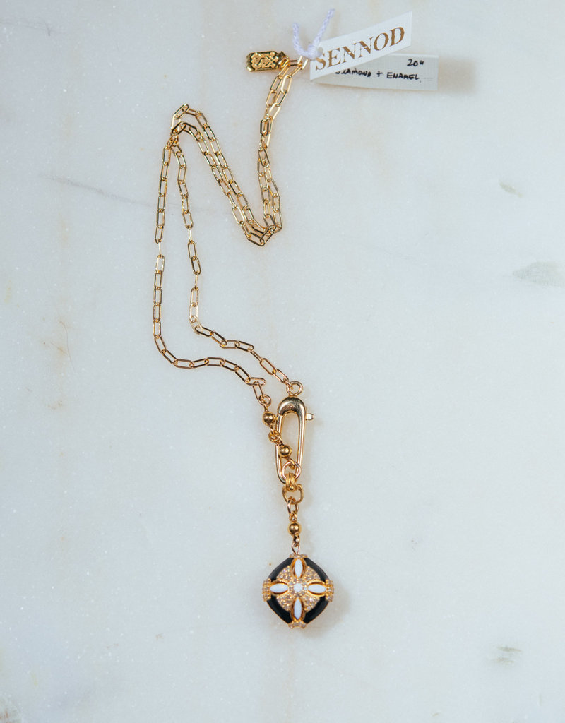 """SENNOD 20"""" Diamond and Enamel Disc with Lobster Clasp Necklace"""