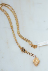 """SENNOD TRUNK SHOW 34"""" Diamond Heart with Box Lobster Clasp Necklace"""
