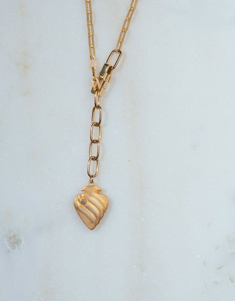 """SENNOD 34"""" Diamond Heart with Box Lobster Clasp Necklace"""
