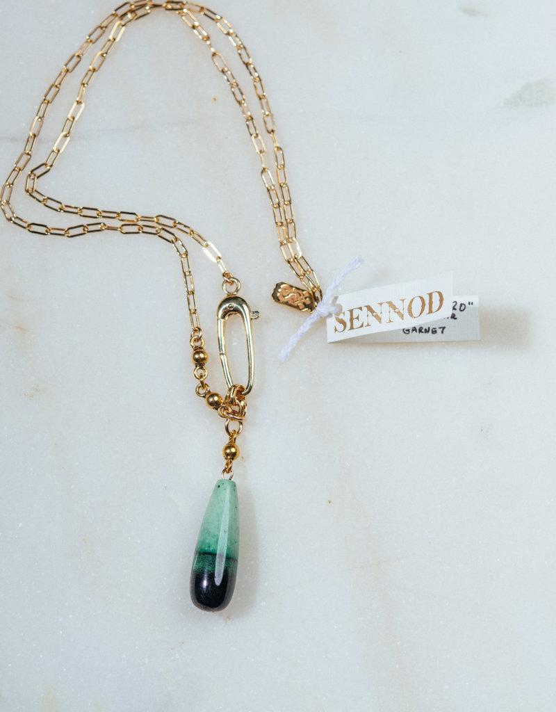 "SENNOD 20"" Green Hydrogrossular Garnet Necklace - Sterling"