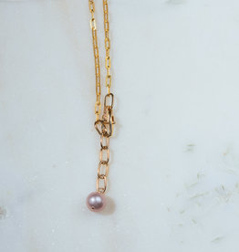"SENNOD TRUNK SHOW 27"" Pink Pearl with Box Lobster Clasp Necklace"