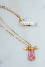 SENNOD Pink Rhodonite with Baron Barr Necklace 18-20""