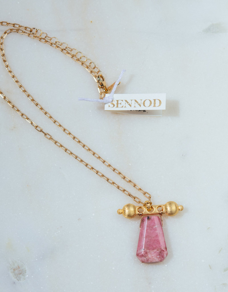 """SENNOD TRUNK SHOW Pink Rhodonite with Baron Barr Necklace 18-20"""""""