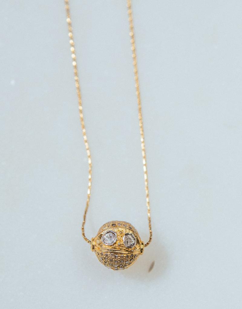 "SENNOD TRUNK SHOW Diamond Slice Ball Necklace 15 - 17"""