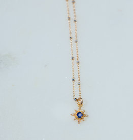 "SENNOD TRUNK SHOW 16"" Diamond and Kyanite Star Necklace"