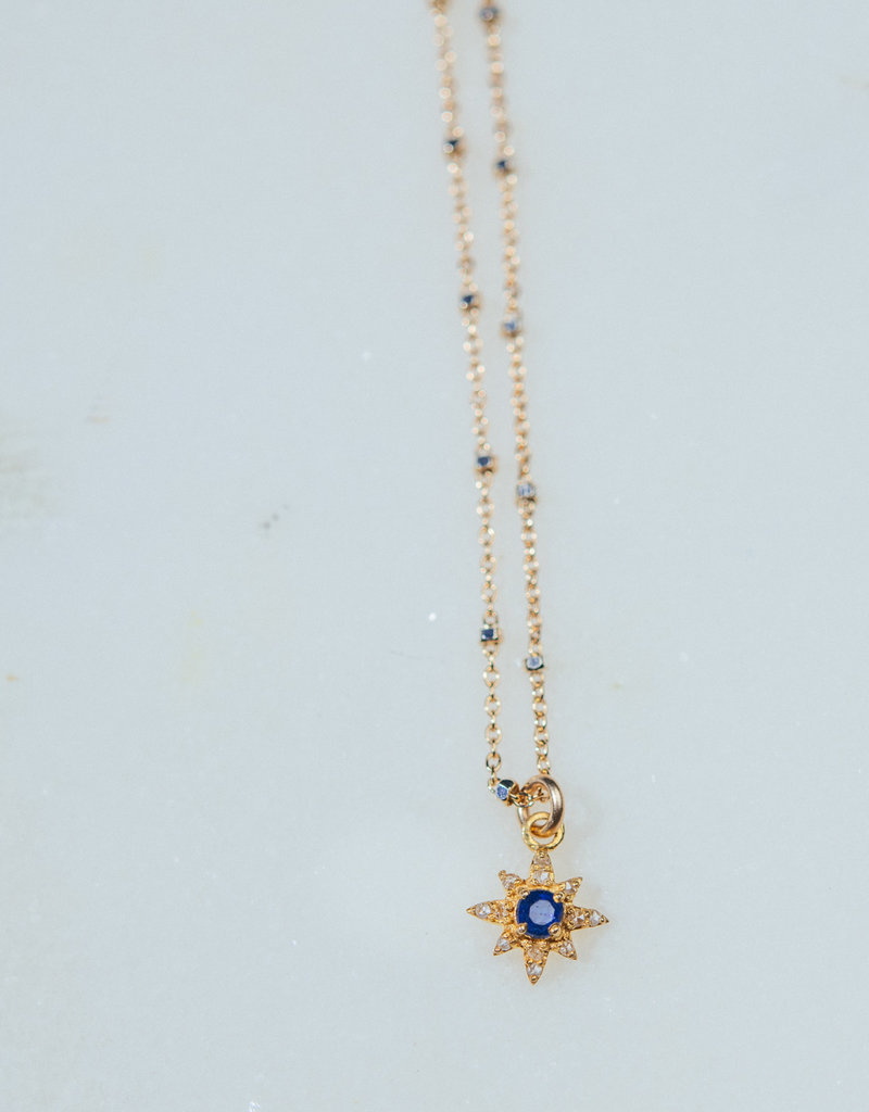 """SENNOD TRUNK SHOW 16"""" Diamond and Kyanite Star Necklace"""