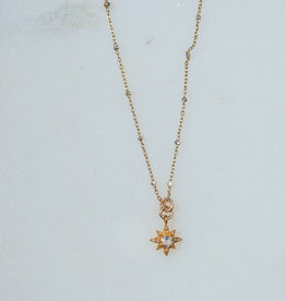 "SENNOD TRUNK SHOW 16"" Diamond and Aquamarine Star Necklace"
